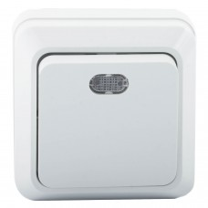 Выключатель 1-кл. ОП Олимп 10А IP20 с индик.бел. Universal О0121