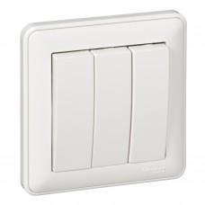 W59 3-клавишный выключатель, 16АХ, в сборе, белый